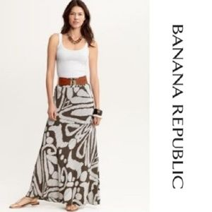 NEW Banana Republic Gray Printed Silk Maxi Skirt 4